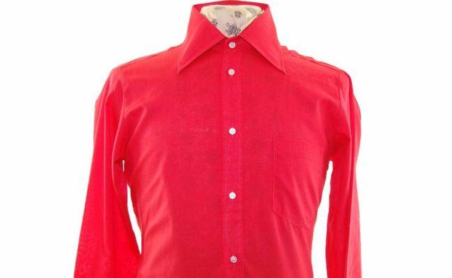 70s Bright Red Long Sleeve Shirt closeup