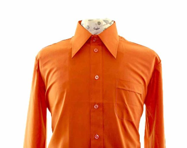 70s Copper Brown Long Sleeve Shirt closeup