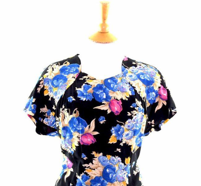 50s Black Floral A line Dress closeup