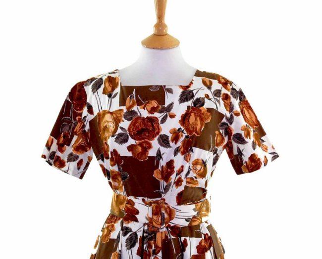 50s Golden Floral Patterned Belted Dress closeup