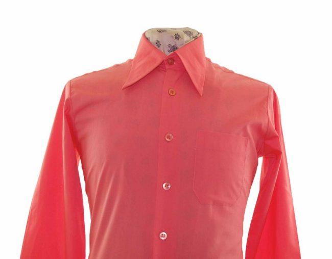 70s Coral Pink Long Sleeve Shirt closeup