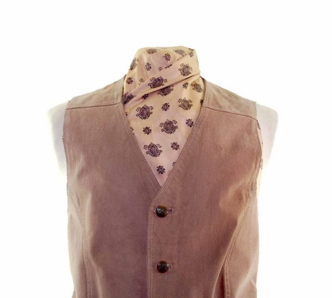 Tan Authentic Suede Waistcoat closeup