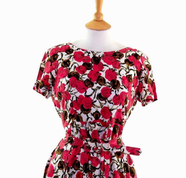 50s Pink Floral Patterned Belted Dress closeup