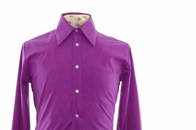 70s Purple Long Sleeve Shirt closeup