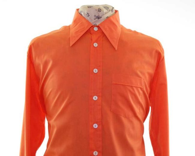 70s Orange Long Sleeve Shirt closeup