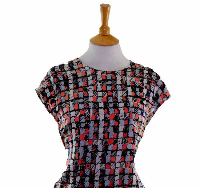 Aquascutum 60s Silk Shift Dress front closeup