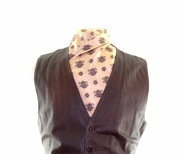 Brown Authentic Leather Waistcoat closeup