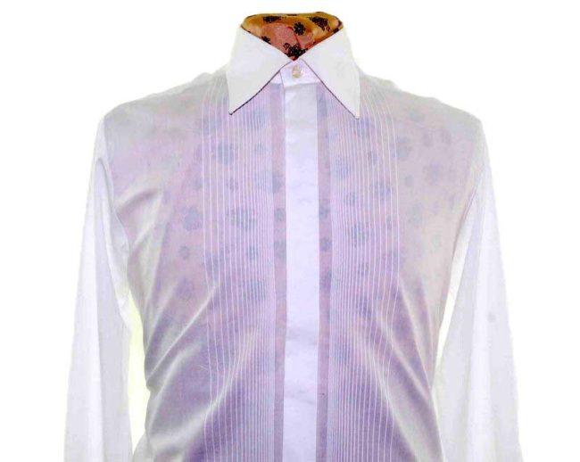 70s White Ribbed Long Sleeve Shirt closeup