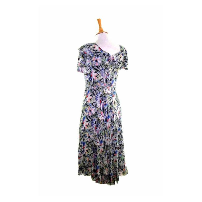 40s Abstract Floral Print Dress back