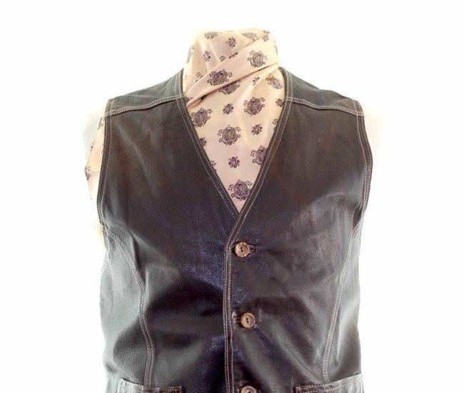 Dark Brown Leather Waistcoat closeup