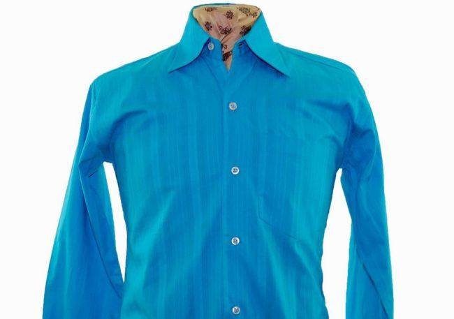 70s Blue Ribbed Long Sleeve Shirt closeup