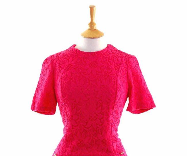 60s Pink Floral Lace Dress closeup