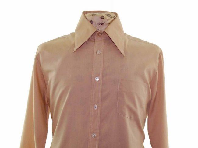 70s Tan Brown Long Sleeve Shirt closeup