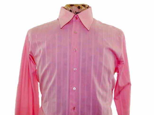 70s Pink Ribbed Long Sleeve Shirt closeup