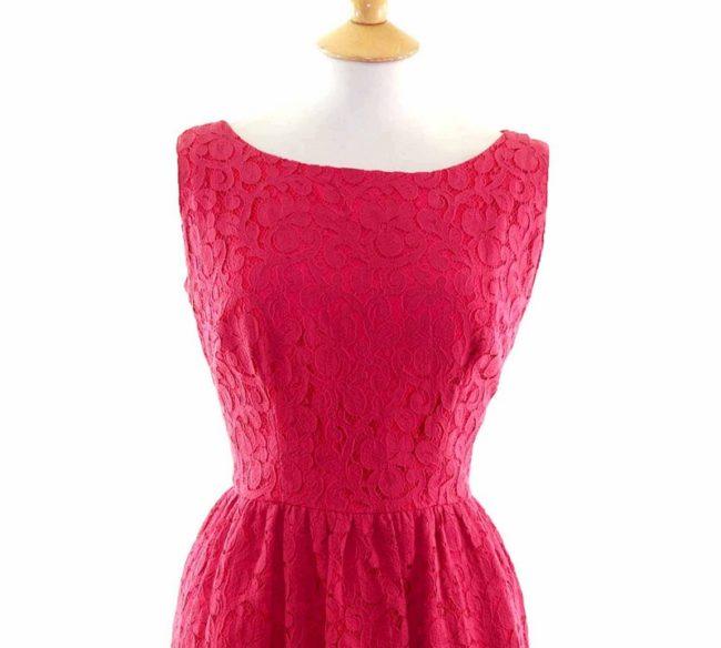 50s Dark Pink Floral Lace Dress closeup