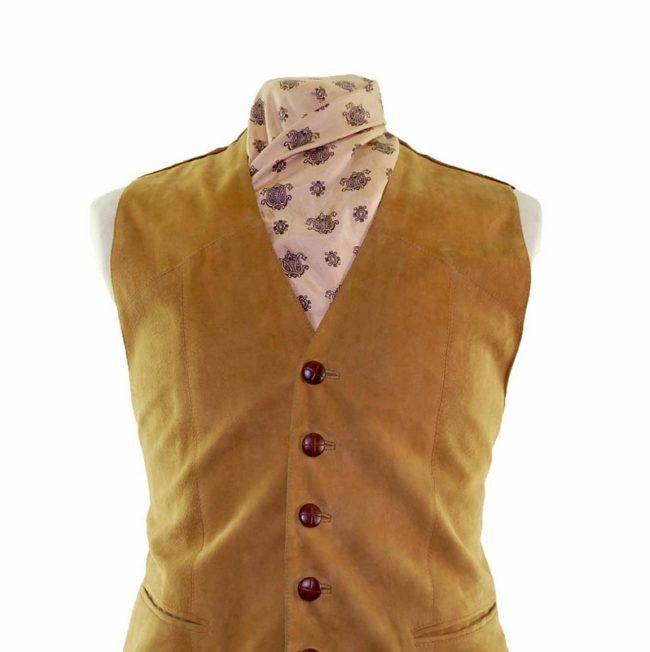 Tartan Suede Waistcoat closeup