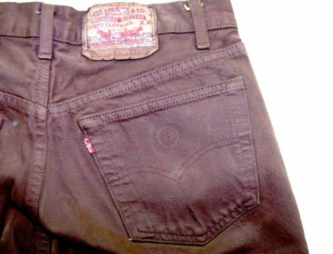Closeup back of Levis Brown Denim Cropped Shorts