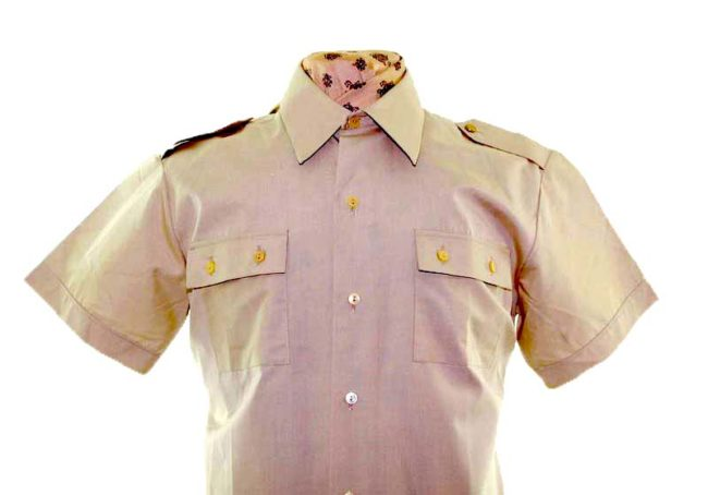 70s Khaki Short Sleeve Shirt closeup