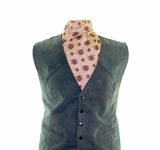 Dark Green Suede Waistcoat closeup