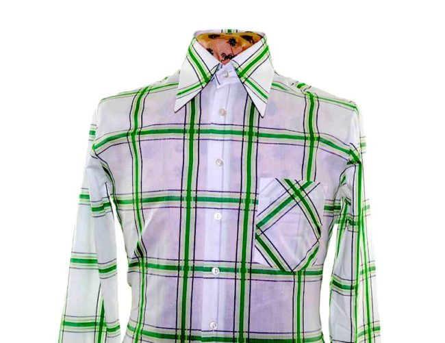 70s Green Patterned Long Sleeve Shirt closeup