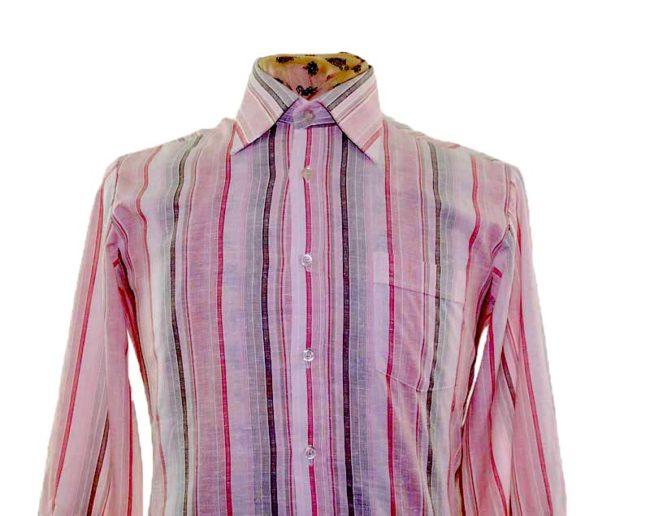 70s Pink Striped Long Sleeve Shirt closeup