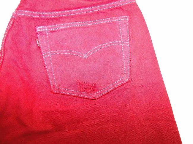 Levis Red Denim Long Shorts pocket