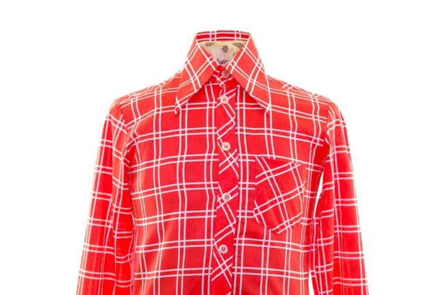 70s Red Patterned Long Sleeve Shirt closeup