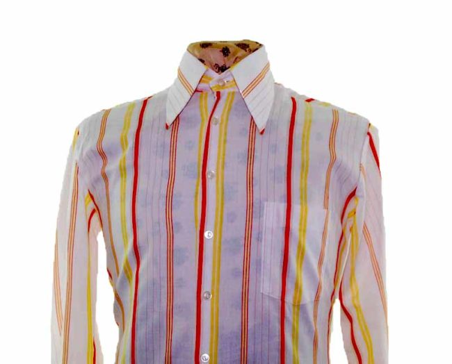 70s White Striped Long Sleeve Shirt closeup