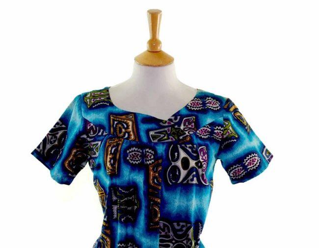 60s Hawaiian Print Shift Dress closeup