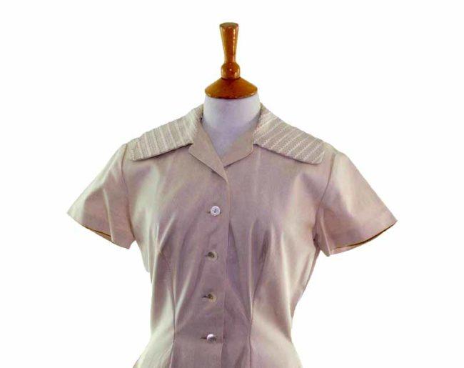 50s Beige Button Flared Dress closeup