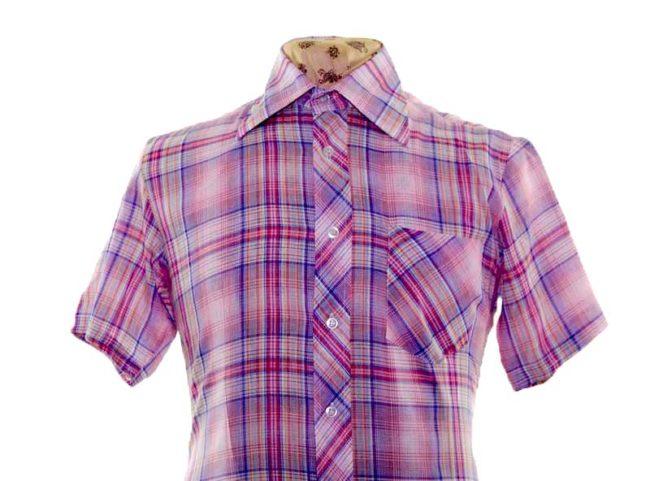 70s Purple Thin Checked Short Sleeve Shirt closeup