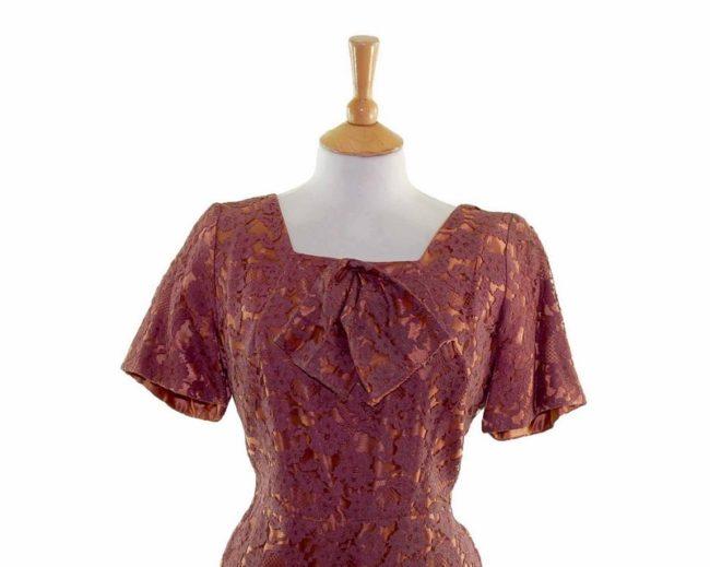 50s Copper Floral Lace Dress closeup