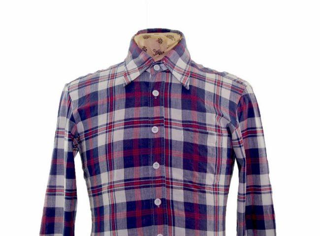 70s Navy Checked Long Sleeve Shirt closeup