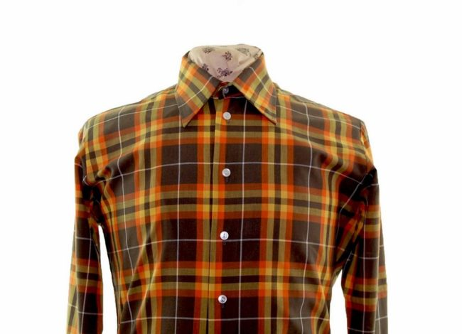 70s Autumnal Checked Long Sleeve Shirt closeup