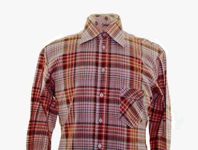 70s Orange Checked Long Sleeve Shirt closeup