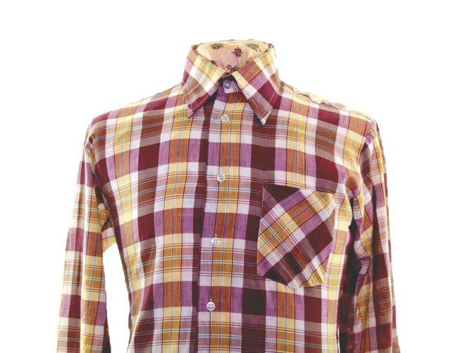70s Muted Purple Checked Long Sleeve Shirt closeup