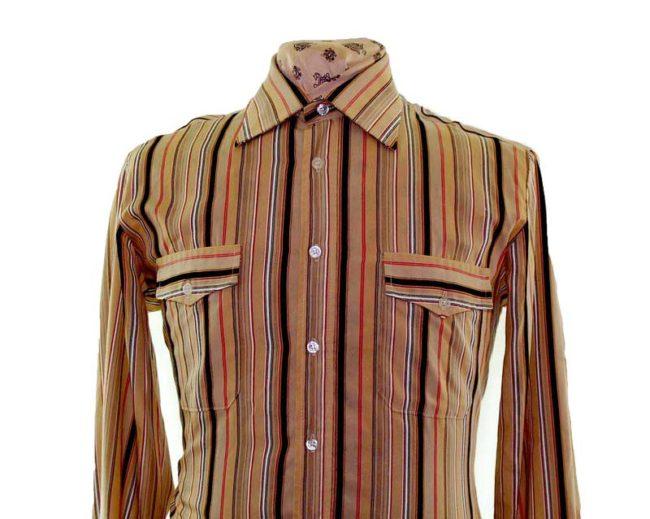 70s Brown Striped Long Sleeve Shirt closeup