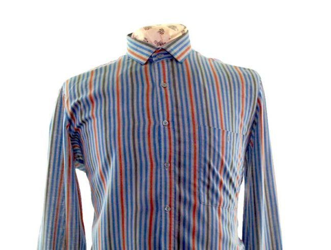 70s Dark Blue Striped Long Sleeve Shirt closeup