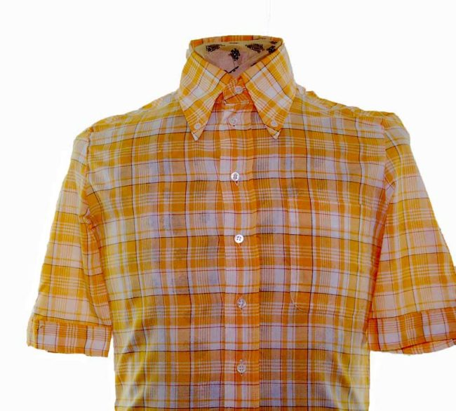 70s Yellow Checked Short Sleeve Shirt closeup