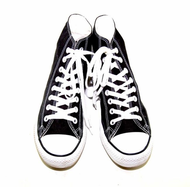 Vintage Black Converse All Star High Tops - Birds eye view