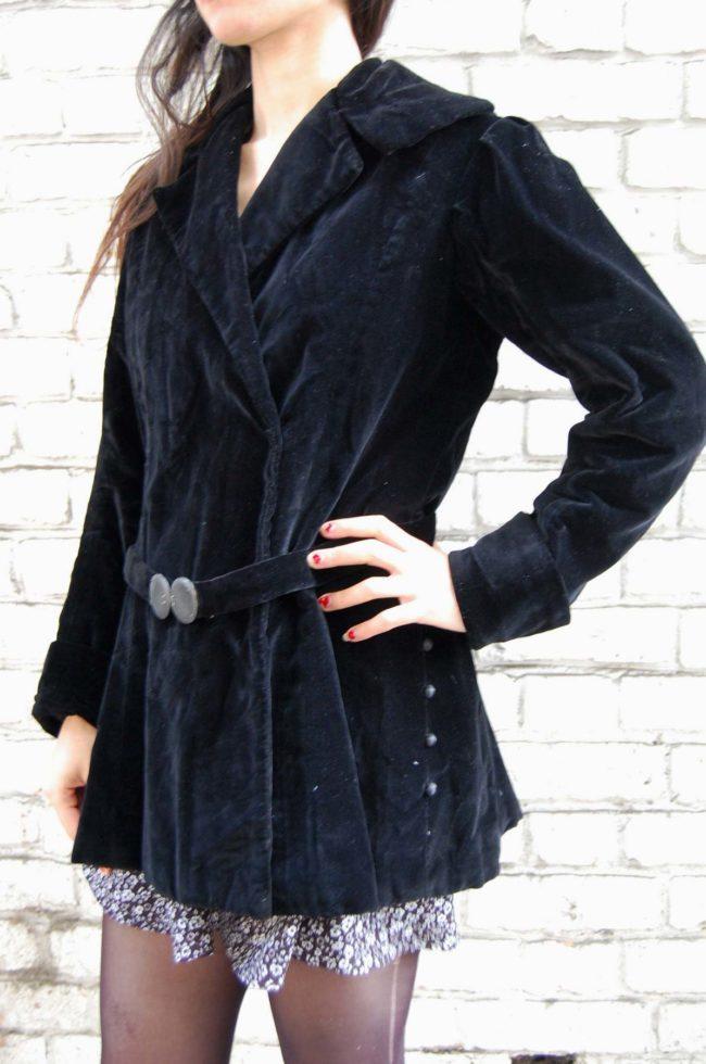 30s Black Velvet Belted Jacket