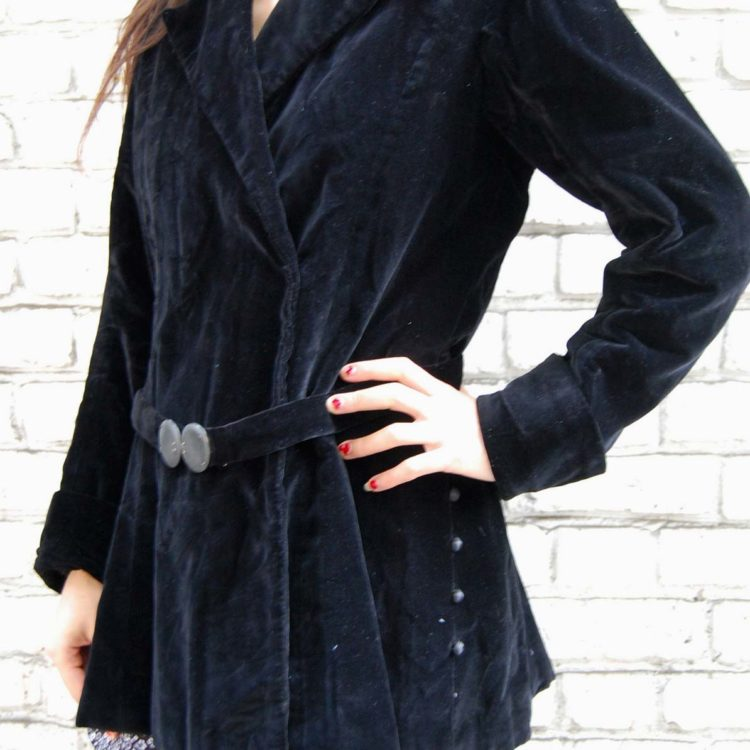 30s Black Velvet Belted Jacket