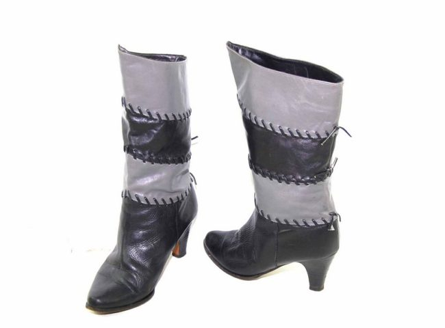 Alternate view of 80s Black Patchwork Leather Boots