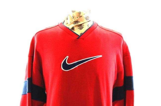 Close up front Red Nike Sweatshirt