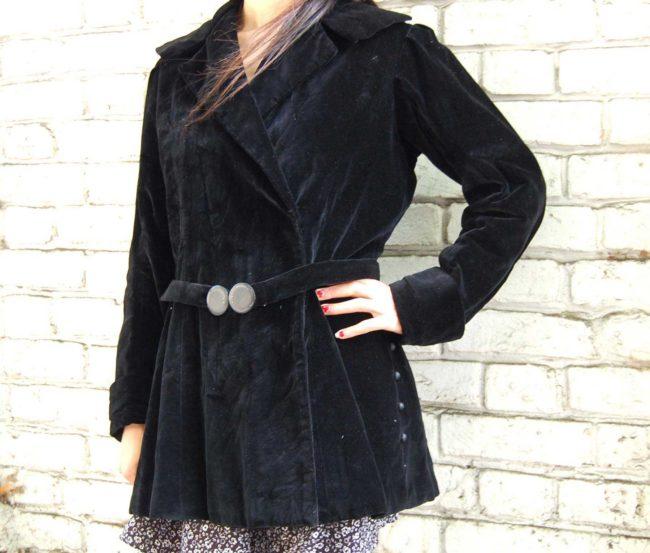Close up of 30s Black Velvet Belted Jacket