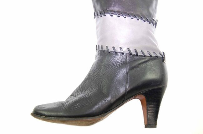 Close up side 80s Black Patchwork Leather Boots