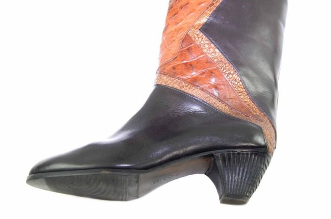 Close up side 80s Snake Skin Black Leathers Boots
