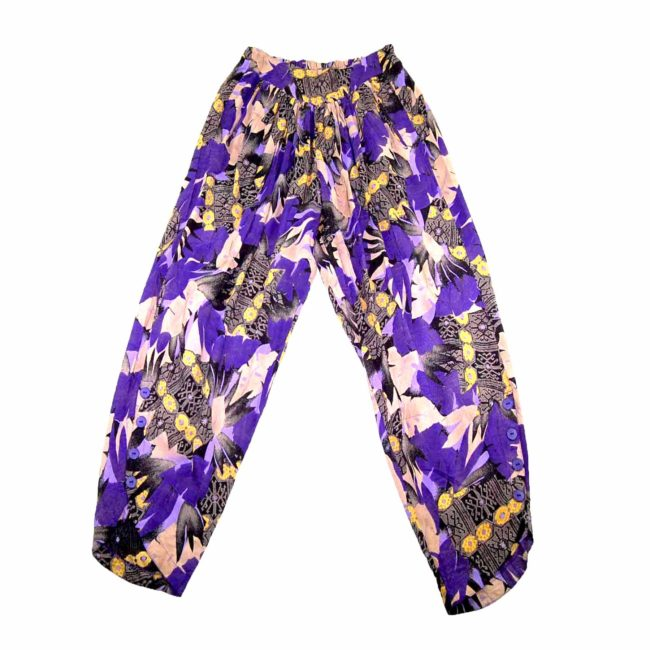 90s Purple Floral Patterned Harem Pants