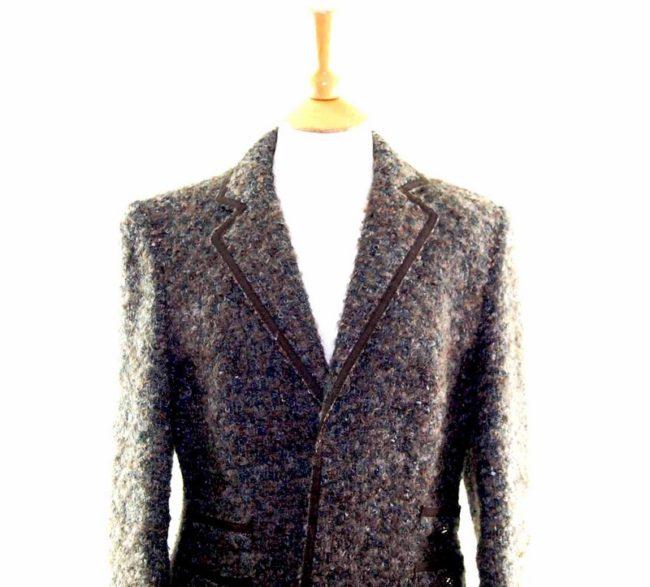 Womens Grey Mohair Woolen Jacket closeup