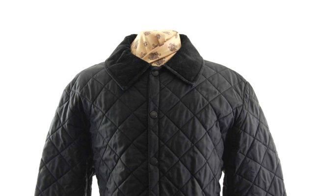 Barbour Diamond Quilted Black Jacket closeup